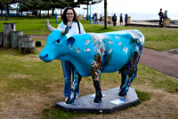Rosemary with one of the entries in the Margaret River CowParade in 2010.